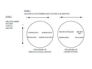 Four Acculturation Strategies Based Upon Two Issues, in Ethnocultural Groups, and the Larger Society