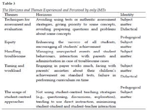 The Horizons and Themes Experienced and Perceived by only IMTs